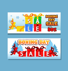 winter boxing day greeting banner vector image