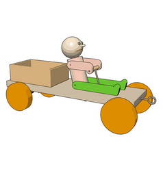 wooden car on white background vector image