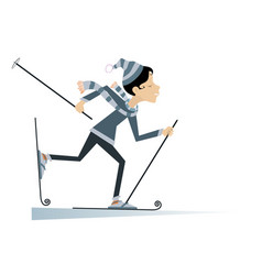 Young skier woman isolated vector