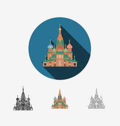 cathedral in moscow saint basils cathedral vector image vector image