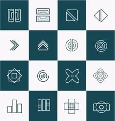 Geometric line lineart logo icon set vector image