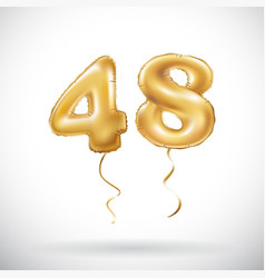 Golden number 48 forty eight metallic balloon vector