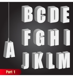 Hanging light bulb letters 3d isometric alphabet vector image