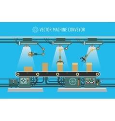 Machinery industrial factory conveyor belt vector image