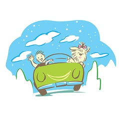 Man and dog travel with car in holiday vector image