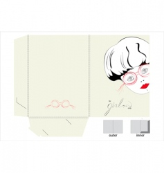 template for folder with girl vector image vector image