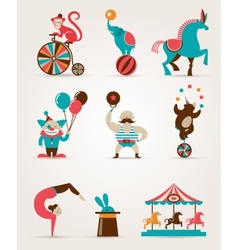 vintage huge circus collection with carnival fun vector image vector image