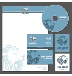 Business card template with lion logo vector image vector image