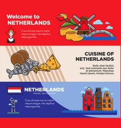 netherlands travel destination promo posters set vector image vector image