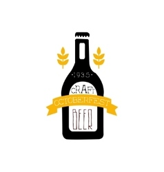 Beer Logo Design Template With Bottle Silhouette vector image vector image