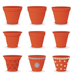 collection of empty flowerpots for your design vector image vector image