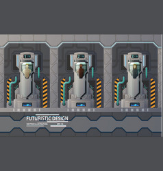 humans people at cryogenic capsules in spaceship vector image vector image