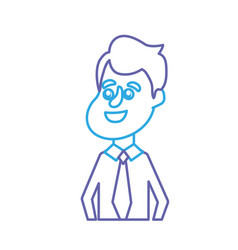 line happy groom with hairstyle and elegant suit vector image vector image