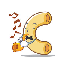 With trumpet macaroni mascot cartoon style vector