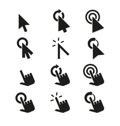 Click icons and hand cursor signs set vector image