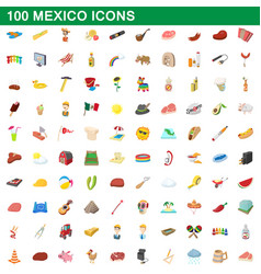 100 mexico icons set cartoon style vector image