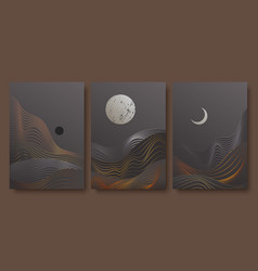 Abstract contemporary aesthetic night landscape vector