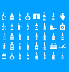 Alcohol bottle icon blue set vector