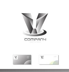 Alphabet letter V grey silver metal logo vector image