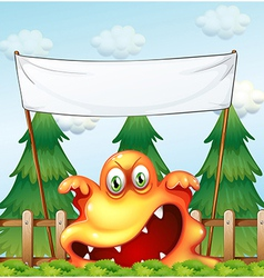 An angry monster below the empty banner vector