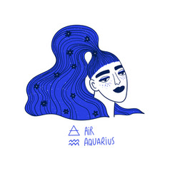 Aquarius zodiac sign with beautiful girl vector