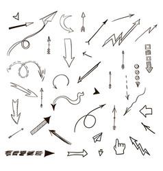arrows hand drawn set vector image