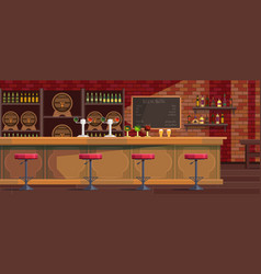 Beer bar interior cartoon vector