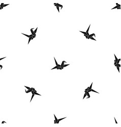 bird origami pattern seamless black vector image
