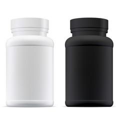 Black and white pill jar 3d supplement bottle vector