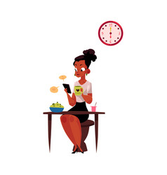 black businesswoman using smartphone having vector image