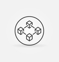 blockchain in circle line icon block chain vector image