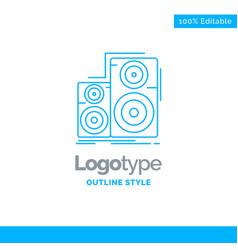 Blue logo design for audio hifi monitor speaker vector
