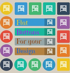 Bookshelf icon sign Set of twenty colored flat vector