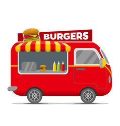 Burgers street food caravan trailer vector