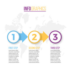 Business infographics presentation with 3 steps vector