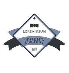 Business logo with gentleman bowtie retro vector