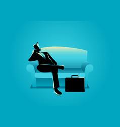 businessman sitting on sofa vector image