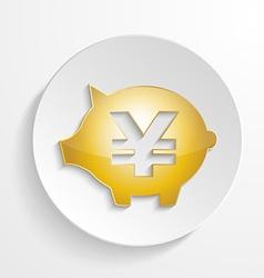 Button Yen Piggy bank design with shadow effect vector image vector image