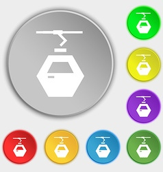 Cableway cabin icon sign Symbol on eight flat vector