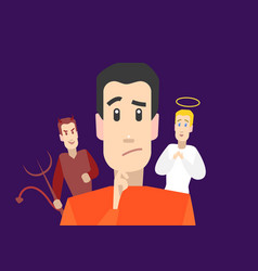 cartoon character man with angel and devil on vector image