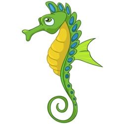 cartoon character seahorse vector image