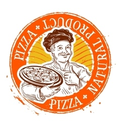 chef and pizza stamp vector image