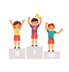 children on the podium vector image