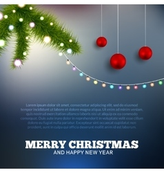 Christmas background with lights Christmas tree vector