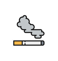 Cigarette tobacco smoke flat color line icon vector