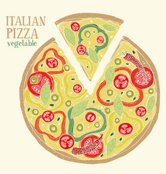 colorful of italian pizza pepperoni vector image