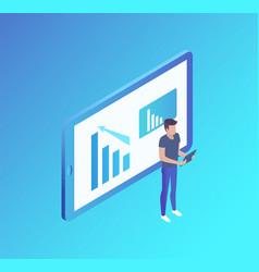 Computer screen analyst man vector