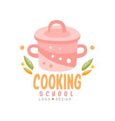Cooking school logo design kitchen emblem can be vector