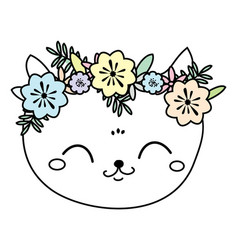 Cute cat in flower wreath sweet kitten face vector