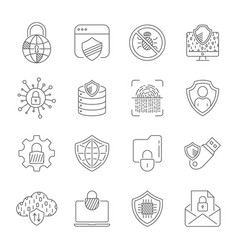 Cyber security technology network icons set vector